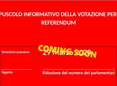 Libretto informativo Referendum 2020 sul taglio dei parlamentari